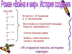1863-1869 1857 1825 1812 1805 Встреча с И.Пущиным и С. Волконским Восстание н