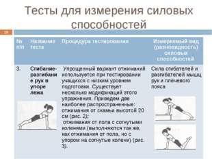 Тесты для измерения силовых способностей * № п/пНазвание тестаПроцедура тес