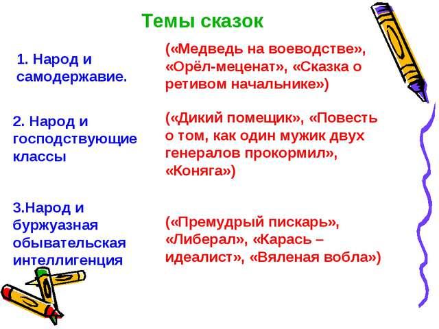 Темы сказок 1. Народ и самодержавие. («Медведь на воеводстве», «Орёл-меценат»...
