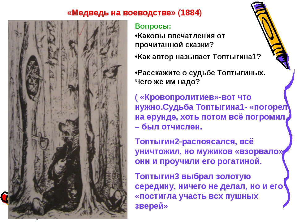 «Медведь на воеводстве» (1884) Вопросы: Каковы впечатления от прочитанной ска...