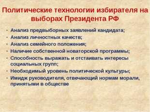 Политические технологии избирателя на выборах Президента РФ Анализ предвыборн