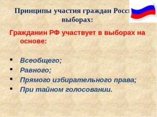 Принципы участия граждан России в выборах: Гражданин РФ участвует в выборах н