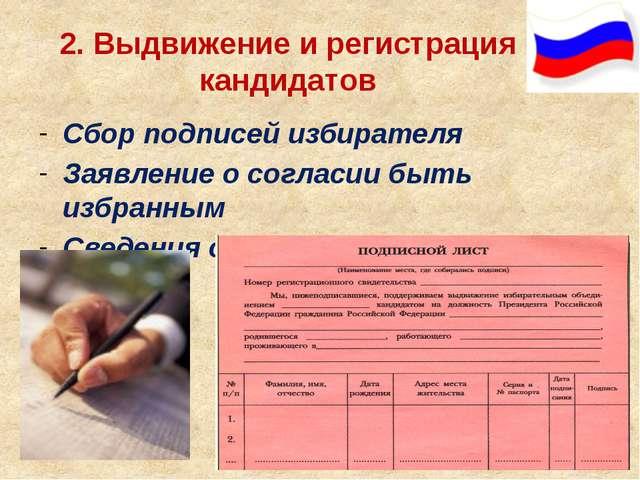 2. Выдвижение и регистрация кандидатов Сбор подписей избирателя Заявление о с...