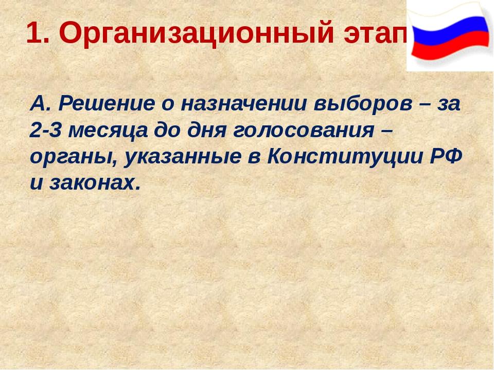 1. Организационный этап: А. Решение о назначении выборов – за 2-3 месяца до д...