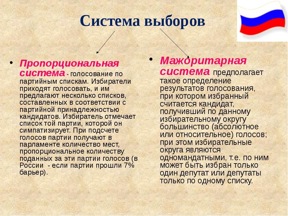 Система выборов Пропорциональная система - голосование по партийным спискам....