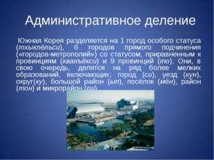 Административное деление Южная Корея разделяется на 1 город особого статуса (