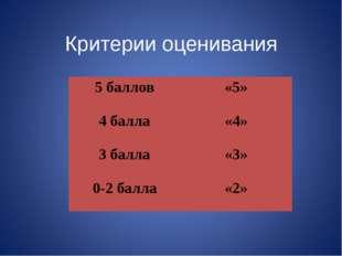 Критерии оценивания 5 баллов«5» 4 балла«4» 3 балла«3» 0-2 балла«2»