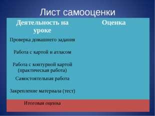 Лист самооценки Деятельность на урокеОценка Проверка домашнего задания Рабо