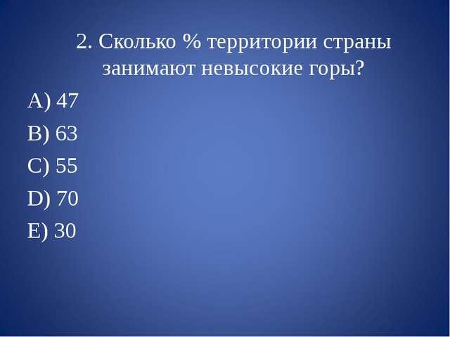 2. Сколько % территории страны занимают невысокие горы? 47 B) 63 C) 55 D) 70...