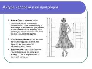 Фигура человека и ее пропорции Канон (греч. – правило, мера) закономерность в