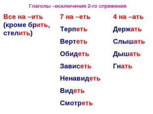 Глаголы –исключения 2-го спряжения Все на –ить (кроме брить, стелить) 7 на –е