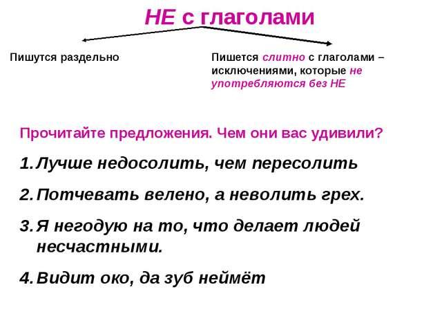 НЕ с глаголами Пишутся раздельно Пишется слитно с глаголами –исключениями, ко...
