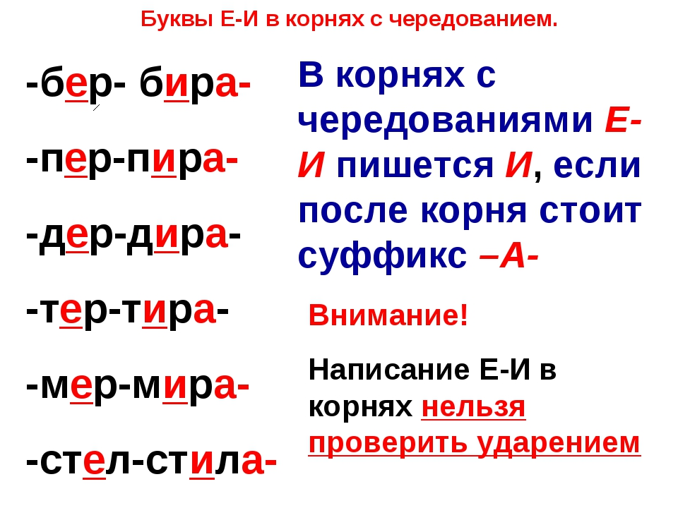 Буквы Е-И в корнях с чередованием. -бер- бира- -пер-пира- -дер-дира- -тер-тир...