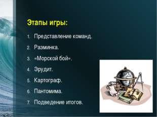 Этапы игры: Представление команд. Разминка. «Морской бой». Эрудит. Картограф.