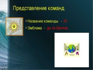 Представление команд Название команды - 1б. Эмблема - до 4х баллов. Вводные з