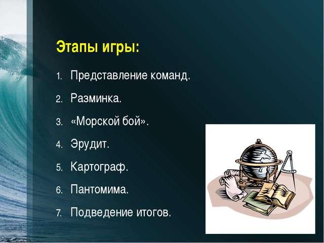 Этапы игры: Представление команд. Разминка. «Морской бой». Эрудит. Картограф....