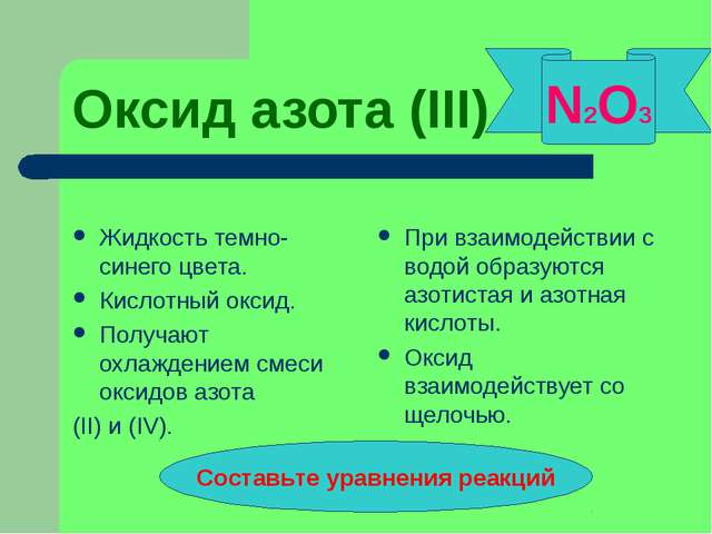 Оксид азота (III) Жидкость темно-синего цвета. Кислотный оксид. Получают охла...