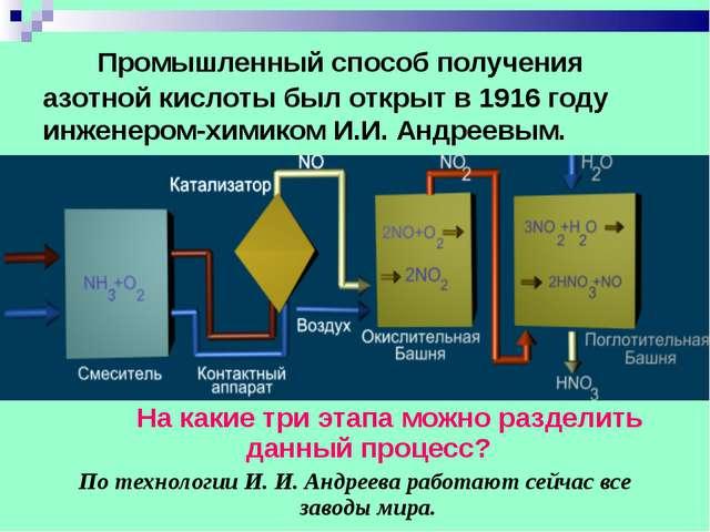 Промышленный способ получения азотной кислоты был открыт в 1916 году инженер...
