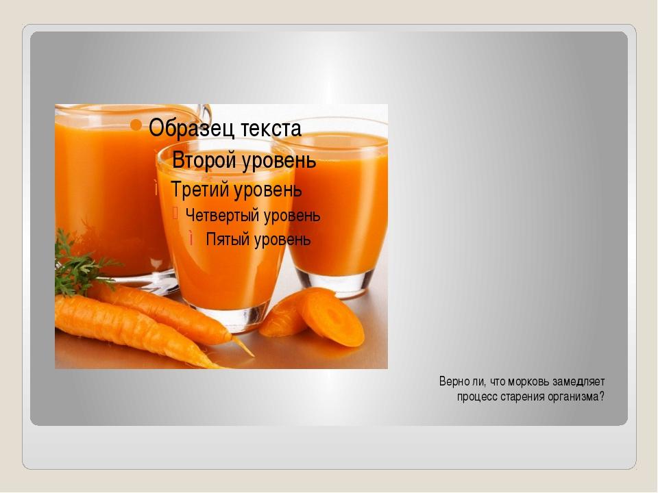 Верно ли, что морковь замедляет процесс старения организма?