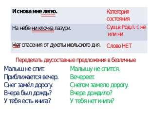 Категория состояния Сущ.в Род.п. с не или ни Слово НЕТ Переделать двусоставны