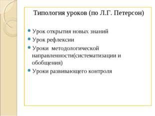 Типология уроков (по Л.Г. Петерсон) Урок открытия новых знаний Урок рефлексии