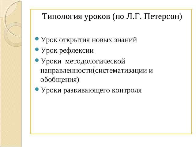 Типология уроков (по Л.Г. Петерсон) Урок открытия новых знаний Урок рефлексии...