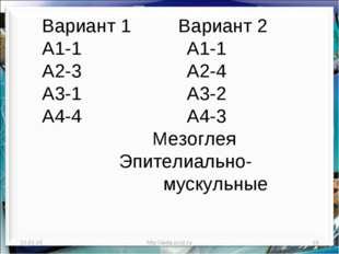 * http://aida.ucoz.ru * Вариант 1 Вариант 2 А1-1 А1-1 А2-3 А2-4 А3-1 А3-2 А4-