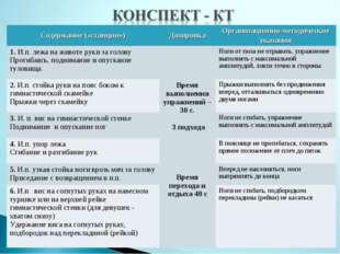 Содержание («станции»)ДозировкаОрганизационно-методические указания 1. И.п.