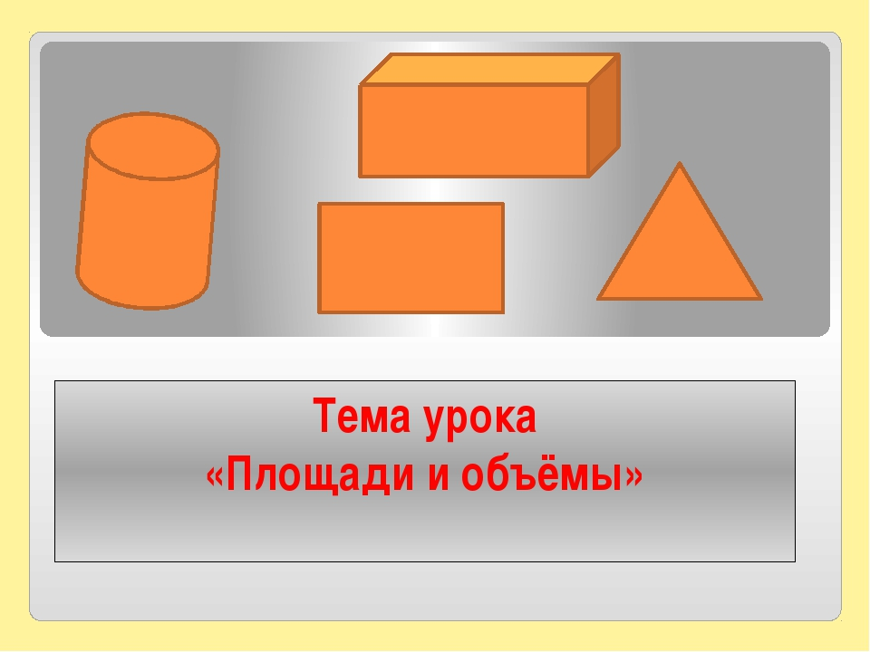Тема урока «Площади и объёмы»