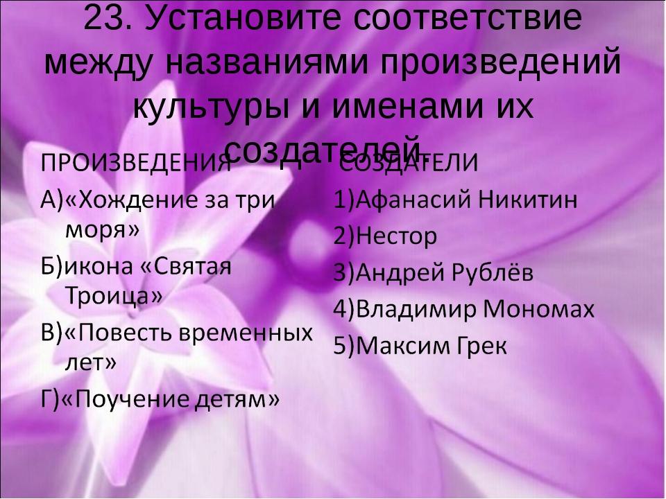 23. Установите соответствие между названиями произведений культуры и именами...