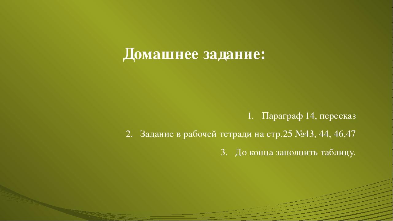 Домашнее задание: Параграф 14, пересказ Задание в рабочей тетради на стр.25 №...