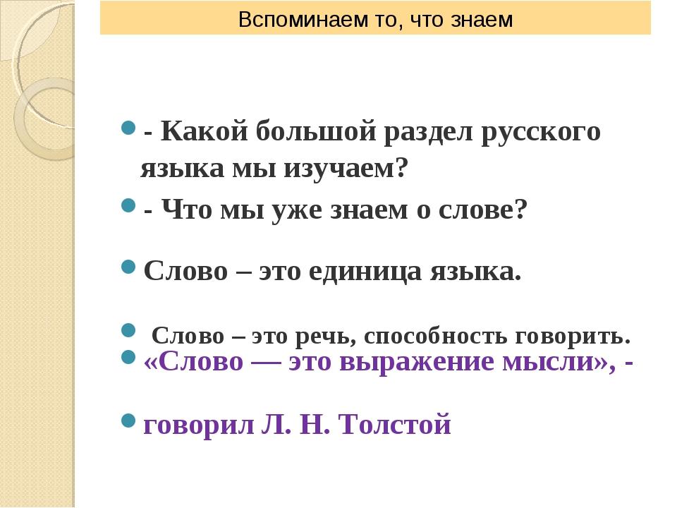 - Какой большой раздел русского языка мы изучаем? - Что мы уже знаем о слове?...