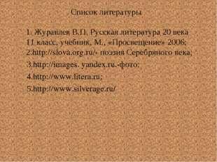 Список литературы 1. Журавлев В.П. Русская литература 20 века 11 класс, учеб