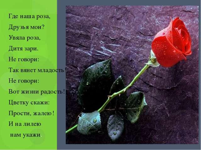 Где наша роза, Друзья мои? Увяла роза, Дитя зари. Не говори: Так вянет младо...