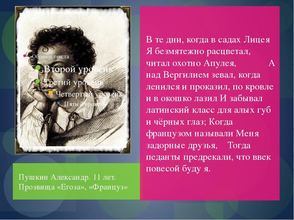 Пушкин Александр. 11 лет. Прозвища «Егоза», «Француз» В те дни, когда в садах...