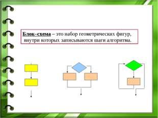 Блок–схема – это набор геометрических фигур, внутри которых записываются шаги