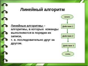Линейный алгоритм Линейные алгоритмы – алгоритмы, в которых команды выполняют