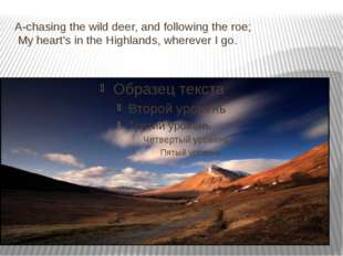 A-chasing the wild deer, and following the roe; My heart's in the Highlands,