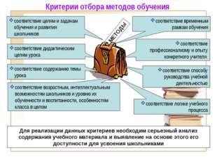 соответствие логике учебного процесса МЕТОДЫ соответствие целям и задачам об