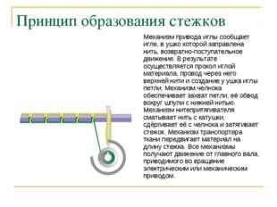 Принцип образования стежков Механизм привода иглы сообщает игле, в ушко котор