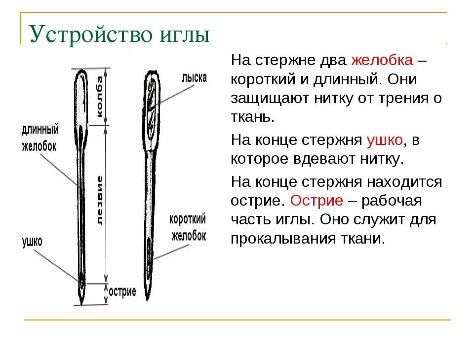 Устройство иглы На стержне два желобка – короткий и длинный. Они защищают нит...