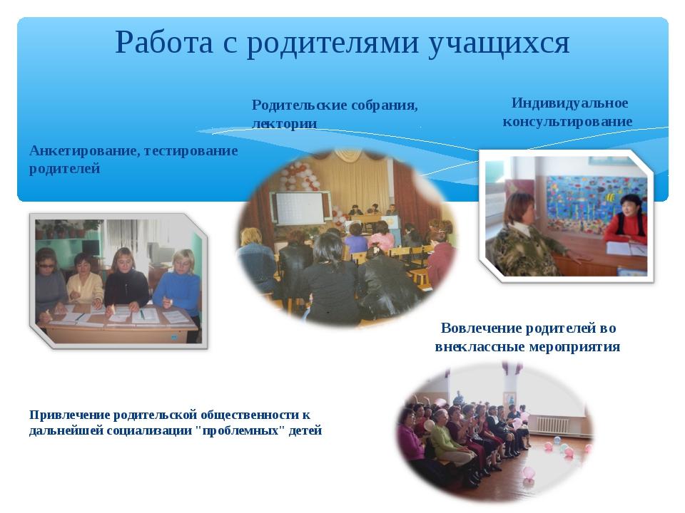 Работа с родителями учащихся Анкетирование, тестирование родителей Родительск...