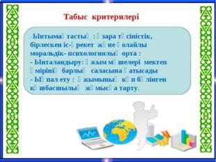 Табыс критерилері - Ынтымақтастық : өзара түсіністік, бірлескен іс-әрекет жә