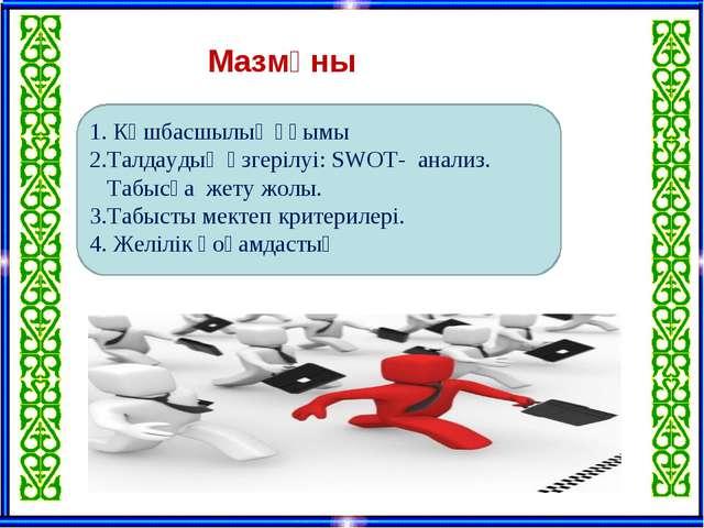 Мазмұны 1. Көшбасшылық ұғымы 2.Талдаудың өзгерілуі: SWOT- анализ. Табысқа же...
