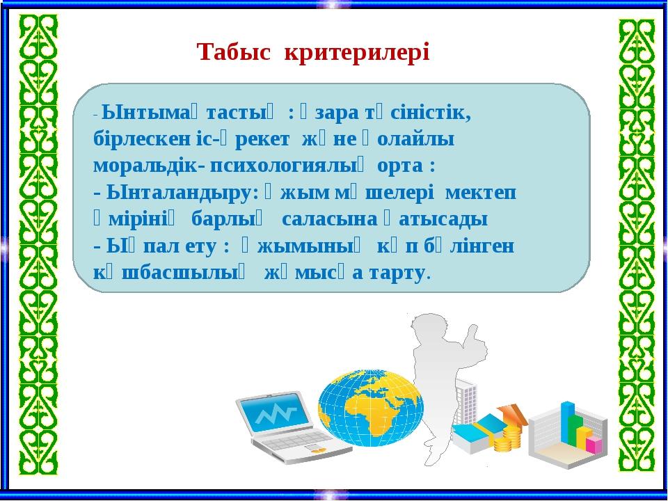 Табыс критерилері - Ынтымақтастық : өзара түсіністік, бірлескен іс-әрекет жә...