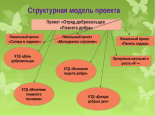 Структурная модель проекта Проект «Отряд добровольцев «Планета добра» Локальн