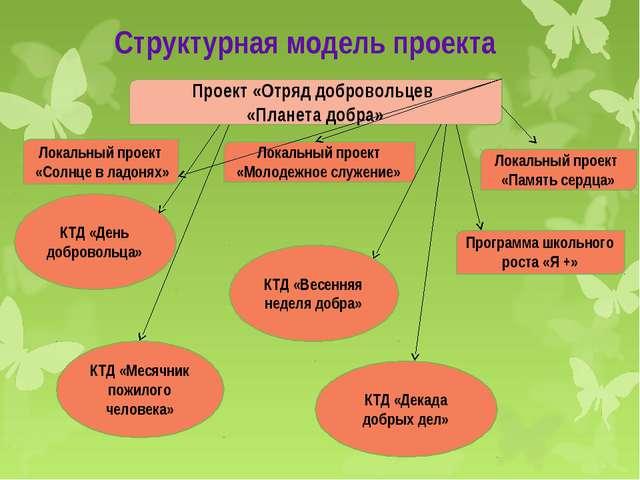 Структурная модель проекта Проект «Отряд добровольцев «Планета добра» Локальн...