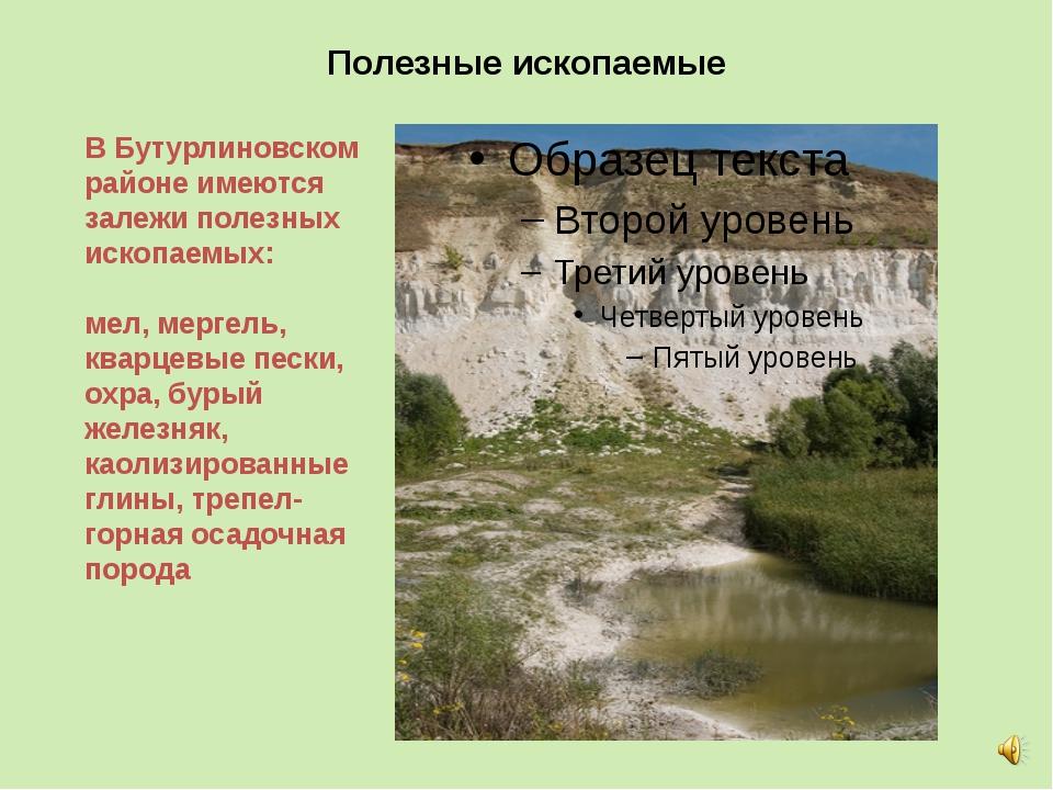 Полезные ископаемые В Бутурлиновском районе имеются залежи полезных ископаемы...
