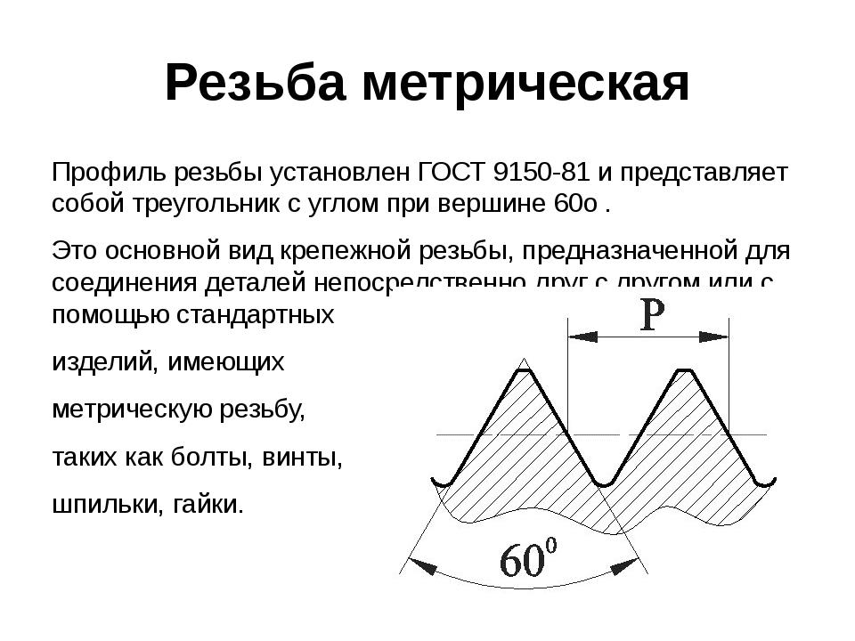 Резьба метрическая Профиль резьбы установлен ГОСТ 9150-81 и представляет собо...