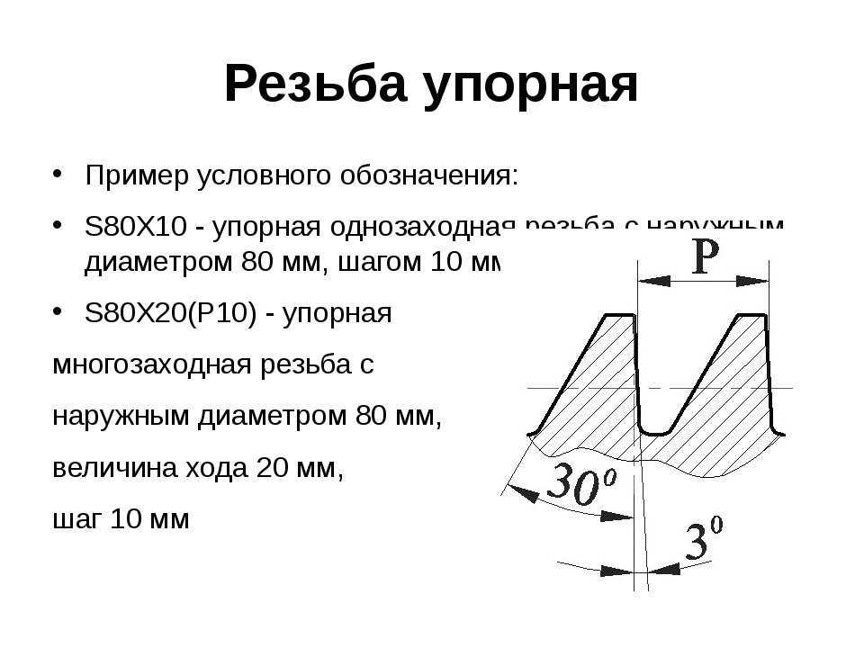 Резьба упорная Пример условного обозначения: S80Х10 - упорная однозаходная ре...